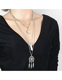 Vintage Silver Color Moon&leaf pendant Decorated Multilayer Design Alloy Bib Necklaces