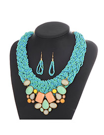 Elegant Sky Blue Gemstone Decorated Beads Hand-woven Collar Design Cz Diamond Jewelry Sets