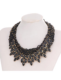 Elegant Black Gemstone Tassel Pendant Decorated Hand-woven Collar Design Cz Diamond Bib Necklaces