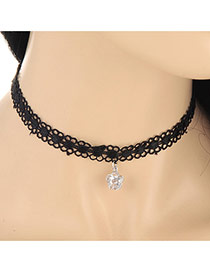 Sweet Silver Color Flower Shape Pendant Decorated Hollow Out Chain Design Lace Chokers