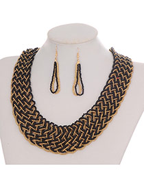 Fashion Black Hollow Out Decorated Hand-woven Collar Design Beads Bib Necklaces
