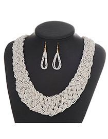 Fashion White Pure Color Decorated Hand-woven Collar Design