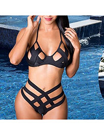 Sexy Black Hollow Out Pattern Decorated Bandage Design Chinlon Sexy Bikini