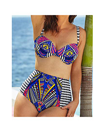 Sexy Multi-color Geometric Shape Pattern Decorated Hammock Design Chinlon Sexy Bikini