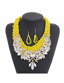 Fashion Yellow Diamond Leaf Decorated Hand-woven Collar Design