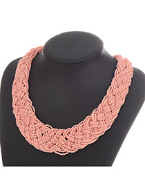 Fashion Light Pink Measle Decorated Hand-woven Chain Design Resin Bib Necklaces