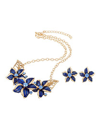 Exaggerated Blue Flower Shape Decorated Simple Design