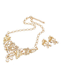 Elegant Gold Color Hollow Out Flower Decorated Simple Design