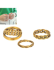 Vintage Gold Color Metal Chain Decorated Simple Design(3pcs)