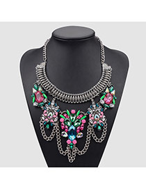 Vintage Multi-color Metal Chain&flower Decorated Geometric Shape Design