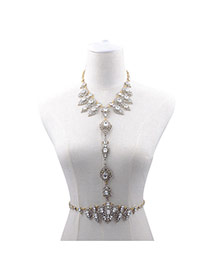 Exaggerated Antique Silver Waterdrop Gemstone Decorated Simple Design Alloy Body Chains
