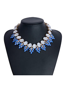 Bohemia Blue Oval Diamond Decorated Collar Design Alloy Bib Necklaces