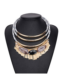 Bohemia Black Irregular Gemstone Decorated Multilayer Design