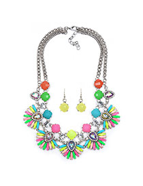 Exaggerated Multi-color Fan Shape Flower Pendant Decorated Double Layer Design
