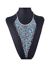 Bohemia Light Blue Beads Hand-woven Decorated Double Layer Design
