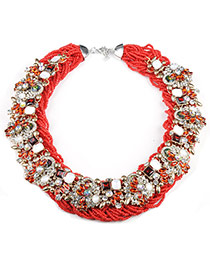 Exaggerated Red+blue Flowre Shape Decorated Hand-woven Chain Design Cz Diamond Bib Necklaces