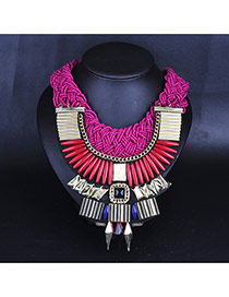 Luxury Red Geometric Shape Pendant Decorated Hand-woven Collar Design Alloy Bib Necklaces