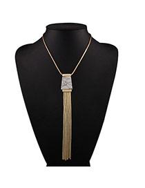 Vintage White Tassel Pendant Decorated Short Chain Design Alloy Bib Necklaces