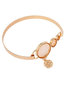 Elegant Gold Color Round Shape Diamond Decorated Flower Pendant Design Alloy Chokers