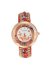Fashion Red Flower Pattern Decorated Double Chain Design Fabric Ladies Watches