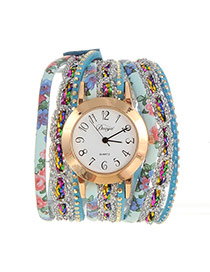 Fashion Blue Flower Pattern Decorated Multi-layer Design Pu Ladies Watches