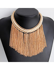 Fashion Gold Color Tassel Pendant Decorated Collar Design Alloy Tassel Necklaces