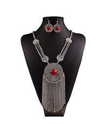 Vintage Red Round Shape&tassel Pendant Decorated Collar Design Alloy Jewelry Sets