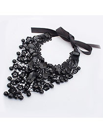 Fashion Black Flower&diamond Decorated Hollow Out Design