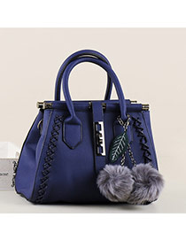 Elegant Blue Double Fuzzy-ball Decorated Trapezoidal Design Pu Handbags