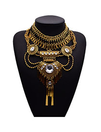 Retro Gold Color Gemstone Decorated Collar Shape Design Alloy Fashion Necklaces