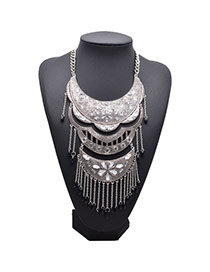 Retro Silver Color Diamond Decorated Tassel Design Alloy Fashion Necklaces