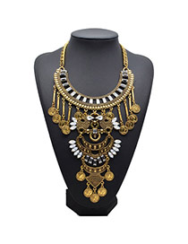 Retro Gold Color Coins Shape Decorated Tassel Design Alloy Fashion Necklaces