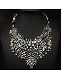 Exaggerate Silver Color Diamond Decorated Geometric Shape Collar Design
