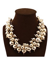 Exaggerate Gold Color Beads Decorated Weave Design