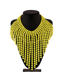 Exaggerate Yellow Multilayer Beads Weave Tassel Design Alloy Bib Necklaces