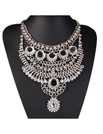 Fashion Silver Color Diamond Decorated Multilayer Design