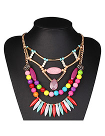 Exaggerated Multicolor Beads Decorated Multilayer Design