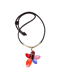 Exaggerated Red+coffee Flower Pendant Decorated Simple Design Acrylic Bib Necklaces
