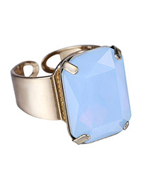 Personality Light Blue Square Diamond Decorated Opening Design Alloy Korean Rings