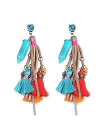 Retro Multicolor Bullet Shape Decorated Tassel Design Turquoise Stud Earrings