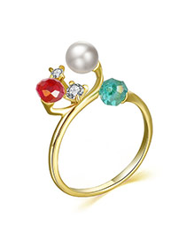 Personality Multicolor Diamond&pearl Decorated Simple Design Alloy Korean Rings