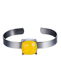 Exaggerated Yellow Square Diamond Decorated Opening Design Alloy Fashion Bangles