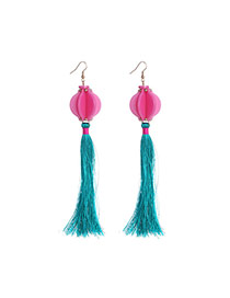 Exaggerate Pink+red+green Lantern Decorated Tassel Design  Acrylic Korean Earrings