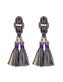 Vintage Purple Tassel Pendant Decorated Simple Design  Alloy Stud Earrings