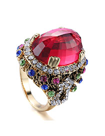 Personality Red Oval Shape Diamond Decorated Simple Design(small) Alloy Korean Rings