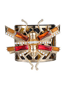 Exaggerate Multi-colour Diamond Decorated Insect Shape Design Alloy Fashion Bangles