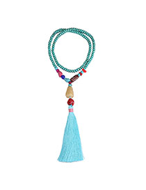 Fashion Blue Beads Decorated Tassel Design Turquoise Bib Necklaces