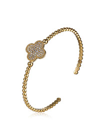 Fashion Gold Colour Clover Shape Decorated Opening Design Alloy Fashion Bangles
