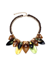 Exggerate Coffee Diamond Decorated Weave Design Acrylic Bib Necklaces