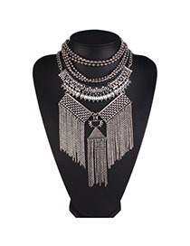 Fashion Silver Color Tassel Pendant Decorated Multi-layer Design Alloy Bib Necklaces